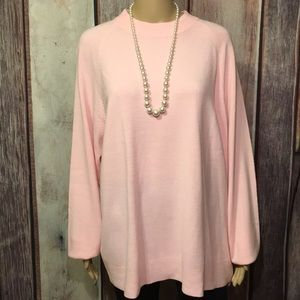 Carolyn Taylor Pink Smooth Knit LS Soft Sweater LS